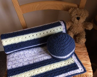 Handmade crochet baby blanket and hat set in navy, yellow and white. Blanket is approx 26 x 28 inches, hat is 0-3 months. Lovely baby gift.