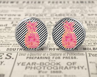 Chanel Inspired Monogram Glass Stud Earrings, Monogrammed Jewelry,  Personalized Earrings, Initial Earrings, Preppy Glass Stud Earrings