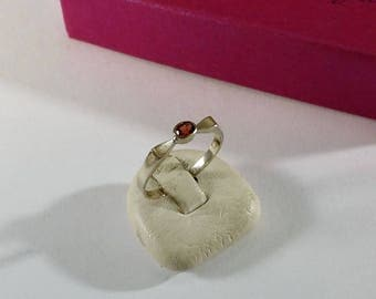 18 mm ring 925 Silver Crystal stone red old SR1074