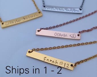 Personalized Bar Necklace - Best Friend Gift - Bible Verse Necklace - Bar Name Necklace - Personalized Necklace - RoseGold Necklace