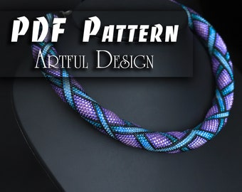 PDF Pattern for beaded crochet necklace - Jewelry patterns - Blue and Purple necklace