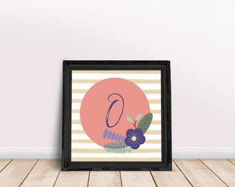 Baby Initial Decor O | Printable Poster, Letter Floral Wreath, Floral Wreath Letter, Name Letter Poster, Floral Letter