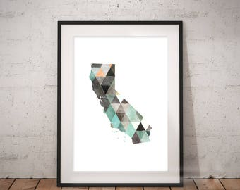 California Print | Geometric State Art, LA City Art, Cali Art, Socal, California Abstract, West Coast Art, Sunshine State, Cali Wall Art