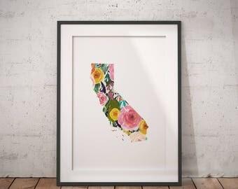 California Print | LA City Art, Cali Art, Socal, California Abstract, Floral California, West Coast Art, Sunshine State, Cali Wall Art