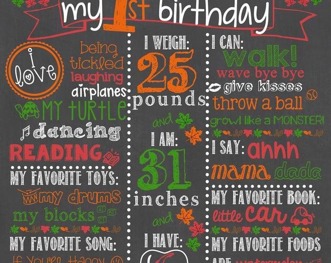 Pumpkin Birthday Chalkboard / First Birthday Pumpkin Chalkboard / Boy First Birthday Chalkboard Sign / Pumpkin Patch Chalkboard Sign
