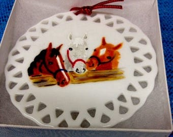 Three Horse Friends Hand Painted China Ornament