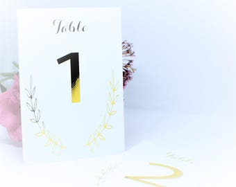 Foiled wedding table numbers, table number printed, card table numbers, wedding stationary, table decor, serving and dining