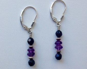 Amethyst and Blue Moonstone Dangle Earrings