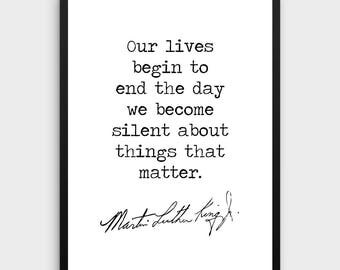 Martin Luther King Quote | Literature Poster, Our lives Quote, Literature Art Print,Book Art Print,Reading Art,Literature Gift