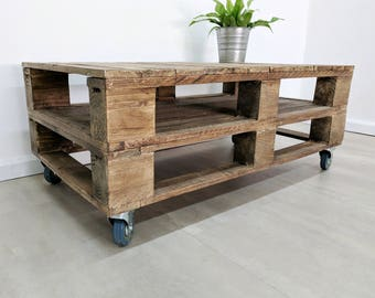 Industrial Pallet Coffee Table LEMMIK in Light Oak Finish made of Reclaimed Pallet Wood