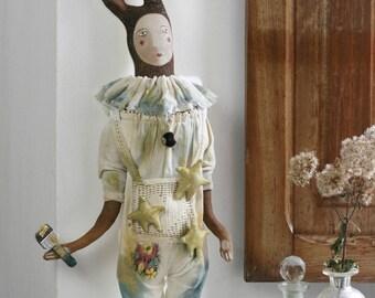 Hare Doll, Folk Doll, Textile Hare, Cloth Doll, Circus Animal, Circus Art Doll, Vintage Hare, Doll Figurine 'Hoppel the Hare'