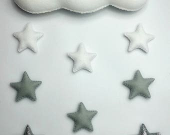 Handmade Ombré felt baby mobile, cloud with white, grey and silver stars, nursery decor, baby gift,