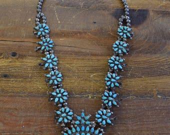 Vintage Turquoise Petit Point Squash Blossom Necklace