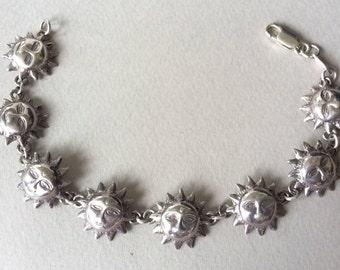 Sterling Silver Sun Face Link Bracelet
