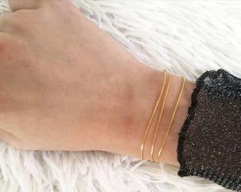 Dainty Chain Bracelet, Thin Gold Bracelet, Delicate Gold Bracelet, Layering Gold Bracelet, Minimal Gold Bracelet, Snake Chain Bracelet