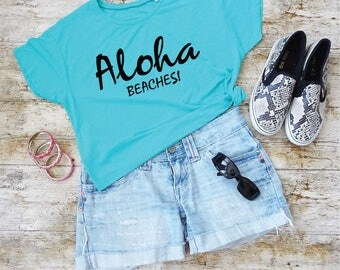 Aloha Beaches T-Shirt. Cropped Tee. Aloha S-Shirt. Hawaii Shirt. Aloha Fashion Shirt. Beach Shirt. Holiday Shirt. Vacay Top.