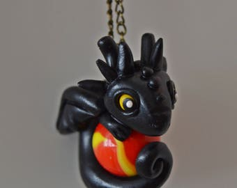 Black dragon pendant