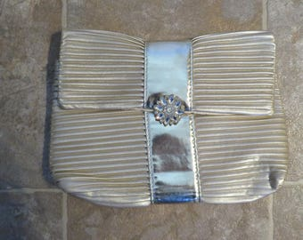"EVENING Bag Clutch, Pleated GOLD PVC/Polyester, 10"" Wide, 7"" Depth (#20J)"
