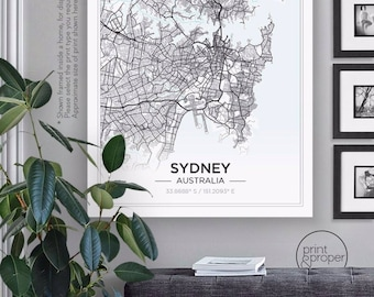 SIMPLE SCANDI City Map - SYDNEY / or Custom City - Wall Art Print Poster Canvas