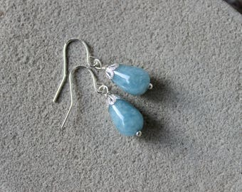 Aquamarine Earrings, Aquamarine Drop Earrings, Aquamarine Jewelry, Blue Bead Earrings, Light Blue Earrings, Blue Silver Earrings, Aquamarine