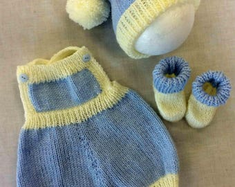 "Hand-knitted 3-Piece Romper Set~0-3mths or 19-22"" Reborn"