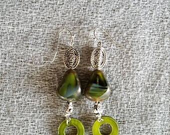 Abstract Green Czech Glass Turtle Earrings