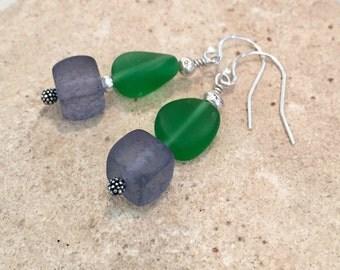 Green and blue drop/dangle earrings, frosted glass earrings, Hill Tribe silver earrings, sundance style earrings, silver dangle earrings