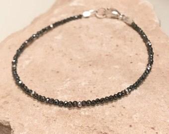 Black bracelet, hematite bracelet, sterling silver bracelet, Hill Tribe silver bracelet, single strand bracelet, sundance style bracelet