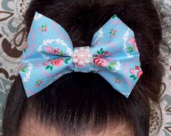Vintage Rose Print Large Hair Bow With Pearls