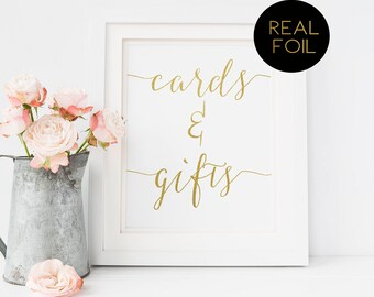 Cards and Gifts, Foiled Wedding Prints, Gold Foil Wedding, Wedding Signs, Gold Wedding Sign, Foil Wedding, Gold Sign, Real Foil Sign