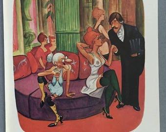1980 Playboy Cartoon Collection - 8 Illustrated Cartoons
