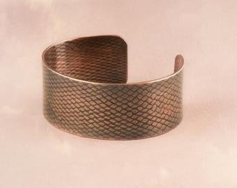 Copper Cuff, Copper Bangle, Copper Bracelet, Cuff Bangle, Snakeskin Cuff, Textured Cuff, Patterned Cuff, Warrior Cuff