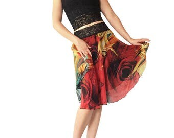 Abstract Rose Red & Turquoise Chiffon Circle Tango Skirt