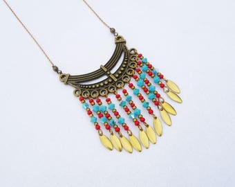boho chic necklace, blue turquoise and red ethnic necklace, brass necklace, southwest, swarovski, gift for her