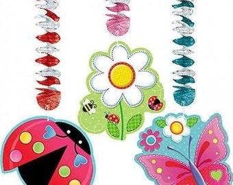 Garden Girl Hanging Foil Swirl Cutouts Decorations 3ct