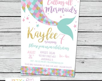 Mermaid Birthday Party - Mermaid Birthday Invitation - Mermaid Party - Girls Mermaid Birthday - Pool Party - Printable Birthday Invitation