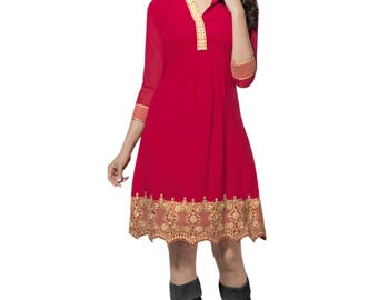 Indian Pakistani Bollywood Designer  Pink Color 60 Gm Georgette Kurti For Women Ethnic Dress Tunic Top