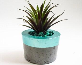 Air planter - Turquoise planter - Concrete planter - Faux succulents - Cement planter - Succulent planter - Indoor planter - Modern planter