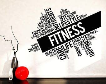 Wall Art Mural Decal Incentive Phrases Lifestyle Fitness Fit Health Care Decor  (2518dz)