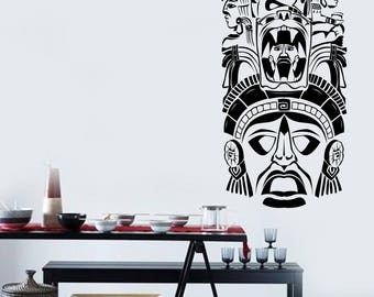 Wall Vinyl Decal Living Room Decor Ancient Ceremony Mask Maya Aztec Modern Ethnic Home Art (2681dn)