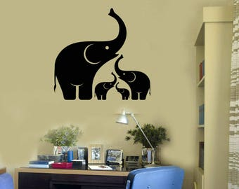 Elephant Family Vinyl Wall Decal Baby Animal Decor Stickers Mural (#2600di)