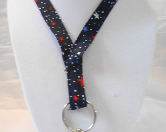 Red, White and Blue Stars Lanyard