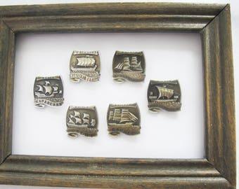 Sailboats Enamel Pin Badges, Set of 6 Historical Ships Pins, Soviet Collectible Lapel Pin