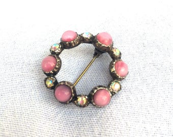 "Pink Cabachon Rainbow Crystal Glass Rhinestone Pin Brooch, White Metal, Circa 1940, Mid Century Costume Jewellery 1.25"" x 1.25"""