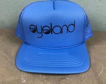 Vintage 1980's Eyeland Mesh Trucker Hat / Blue / Foam / Adjustable Snapback San Sun Baseball Cap