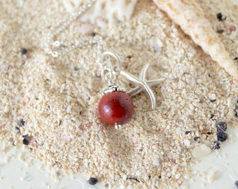 Red Sponge Coral Pendant - Natural Charm Dangle - Sterling Silver Genuine Coral Necklace Jewelry - Natural Red Coral