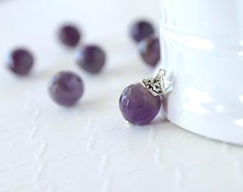 Genuine Amethyst Pendant - Sterling Silver Charm Dangle - Natural Purple Amethyst Gemstone - Necklace Jewelry - February Birthstone