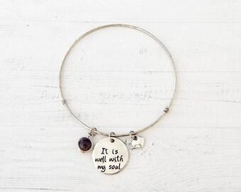 It Is Well With My Soul Bracelet - Quote Bracelet, Message Charm Bracelet, Stamped Charm, Silver Bangle Bracelet, Inspirational Jewelry