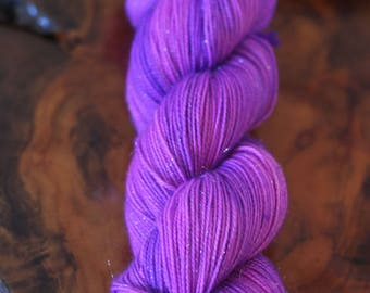 "Hand Dyed ""Electric Pop"" Sparkle Sock, Tonal, Silver Stellina, Knitting, Crochet, Yarn"