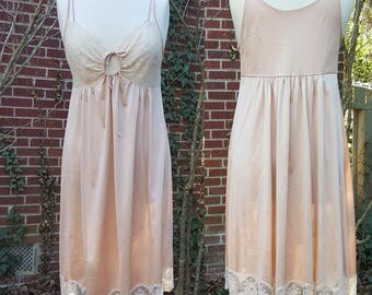 Vintage Shadowline Nightgown Slip Lace Lingerie Night Gown Dress Pink Made in USA Shadow Line